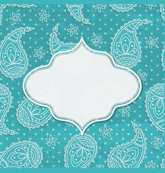 Paisley textured background with a frame vector