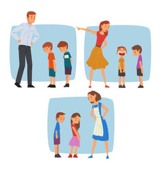 parents scolding naughty boys set mothers and vector image