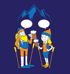 People hiking and drink beer vector