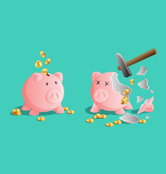 Pink piggy bank icon and broken piggy moneybox vector