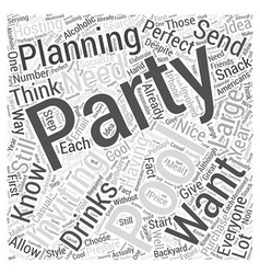 Planning a Pool Party Word Cloud Concept vector image