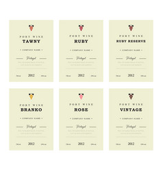 Port wine labels premium template set vector