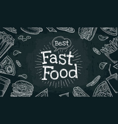 poster fast food color flat vector image