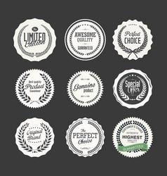 premium quality retro badge collection vector image