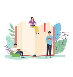reading book concept huge open textbook and vector image