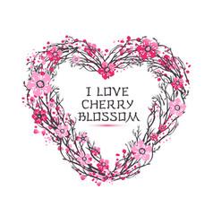 sakura japan cherry branch of wreatht with vector image