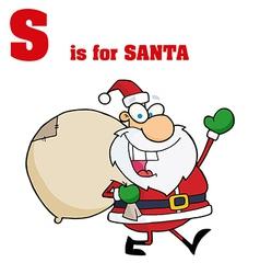 Santa cartoon with letter vector