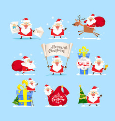santa claus collection merry christmas vector image