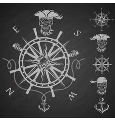sea emblem and a set pirate elements vector image