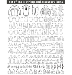 set line clothing icons vector image