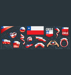 Set national flag chile in vector