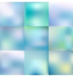 Set of blurred glowing pale blue backgrounds vector