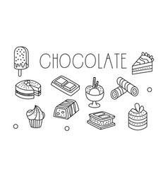 set of chocolate desserts in sketch style vector image