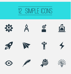 Set simple visual art icons vector
