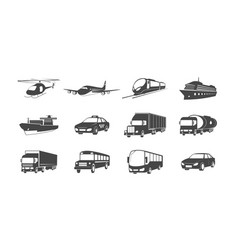 set transport symbols helicopter airplane vector image
