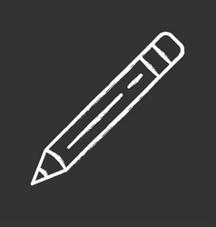 sharp pencil with eraser rubber chalk icon vector image