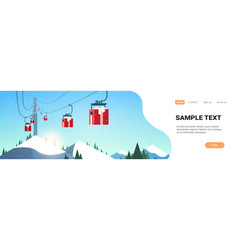 ski resort with gift boxes cableway in mountains vector image
