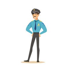 smiling police officer standing character vector image