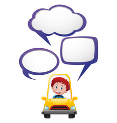 Speech bubble template with boy in yellow car vector