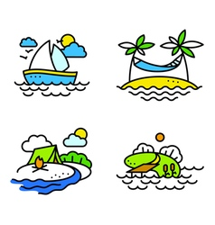 Summer activity icons set vector image