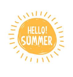 sunshine symbol with hello summer vector image