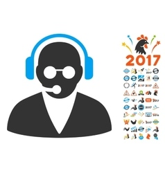Support operator icon with 2017 year bonus symbols vector