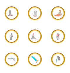 Surgical intervention icons set cartoon style vector