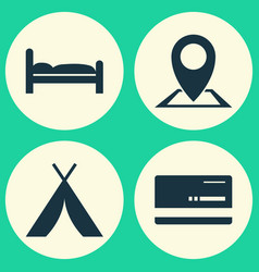 Traveling icons set collection of booth vector