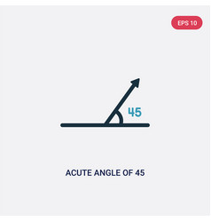 Two color acute angle 45 degrees icon from vector