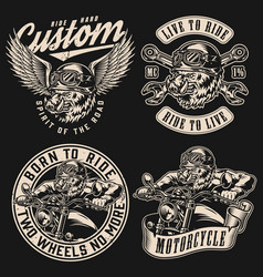 vintage monochrome motorcycle labels vector image