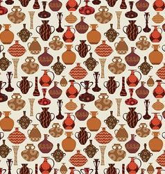 vintage seamless texture with old variety vases vector image