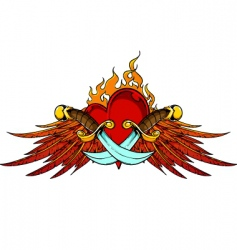 wings dagger and flaming heart vector image vector image