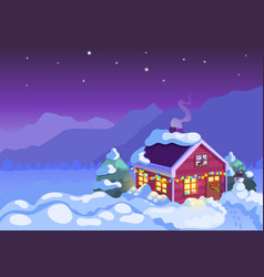 winter background night christmas house vector image