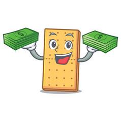 With money graham cookies mascot cartoon vector