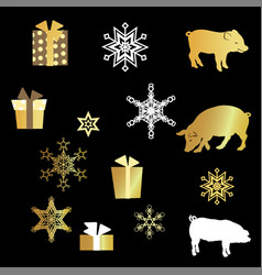 with pig silhouette presents and golden snowflakes vector image