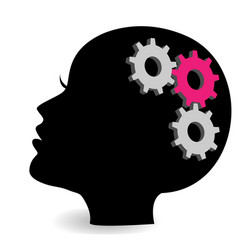 Woman head with gears and cogs symbol vector