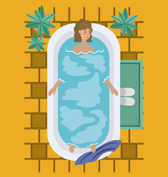 woman taking a bath tub vector image