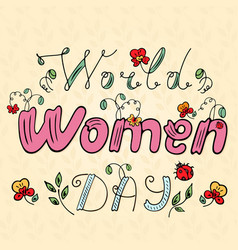 World women day with an inscription with a ladybug vector