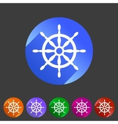 Yacht wheel helm sea icon web sign symbol logo vector image