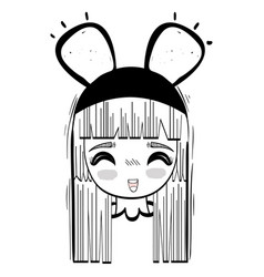 anime happy cute woman with costume vector image