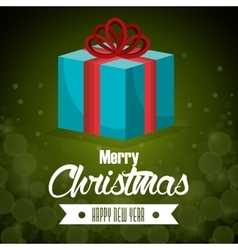 big gift blue bow card merry christmas green vector image