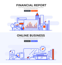 flat design concept banner -financial report and vector image vector image
