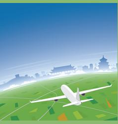 Beijing skyline flight destination vector