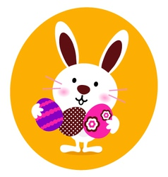 bunny holding easter eggs vector image vector image