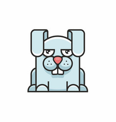 cute hare icon on white background vector image vector image