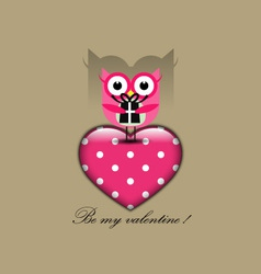 Cute owl holding a gift vector image vector image