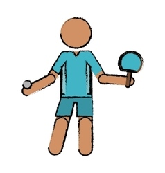drawing character ping-pong player with racket vector image