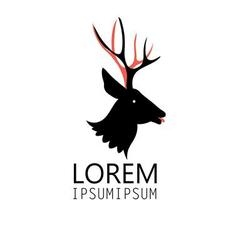 Graphic sign of a deer head on a white background vector image vector image