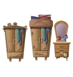 Set of wooden furniture in dressing room vector image vector image