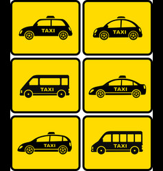 taxi cars set on yellow buttons vector image